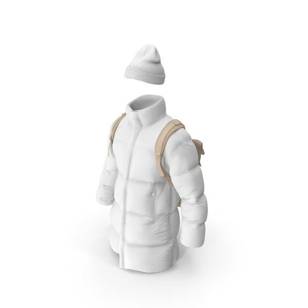 Мужская вниз пальто шляпа рюкзак бежевый белый