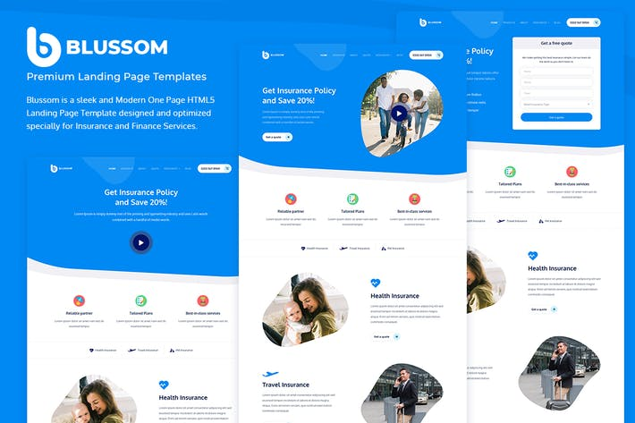 Thumbnail for Blussom Insurance Service Landing Page Template