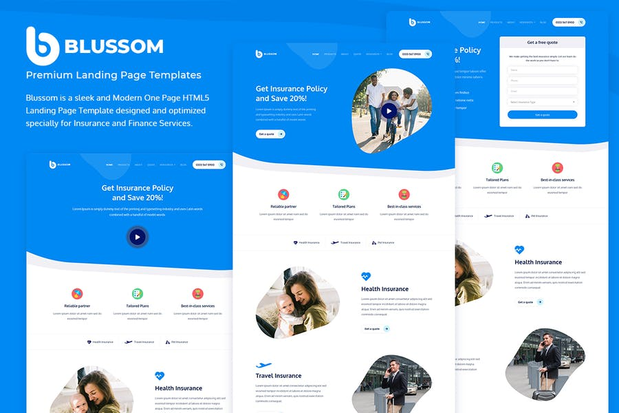 Blussom Insurance Service Landing Page Template  - product preview 5