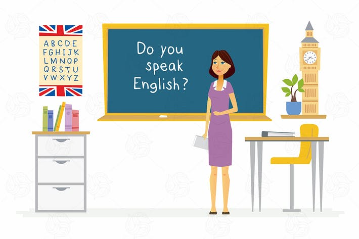 Cover Image For English teacher - colorful vector illustration