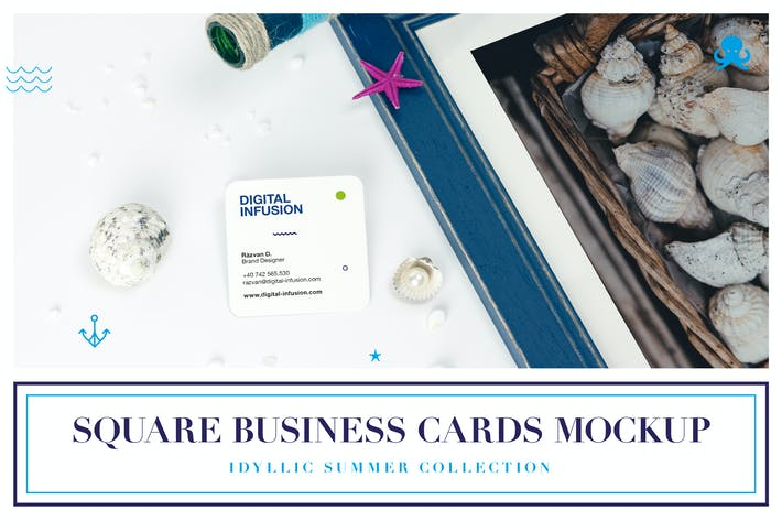 Thumbnail for Square Business Card Mockup