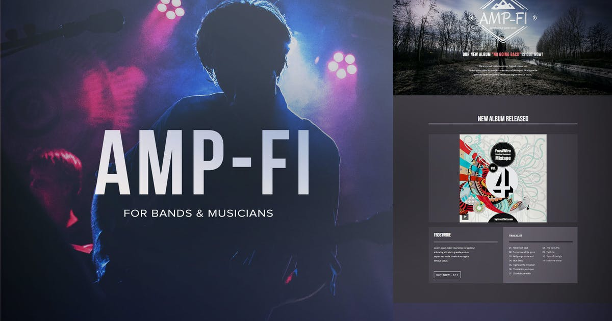 Download Amp-fi / Music Band Muse Template for Musicians by styleWish