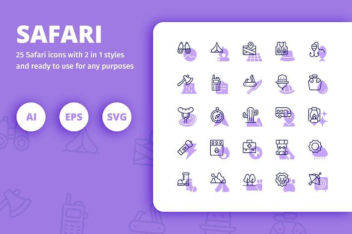 Thumbnail for Safari Icons (Line and Solid)