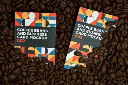 Coffee Beans And Business Card MockUp 002