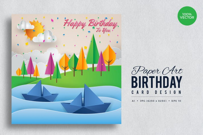 Thumbnail for Paper Art Happy Birthday Vector Card Vol.1