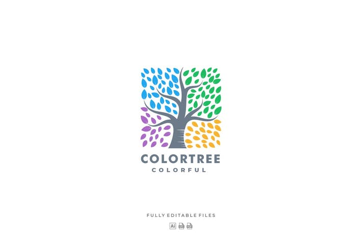 Thumbnail for Tree and Square Colorful Logo