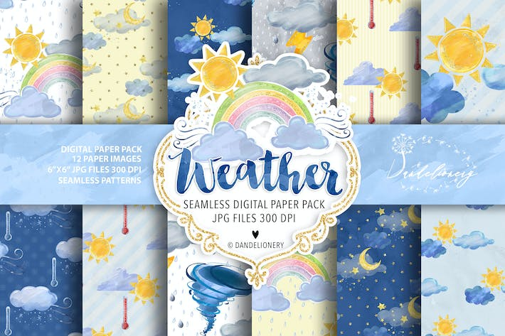 Thumbnail for Watercolor Weather Digital paper pack