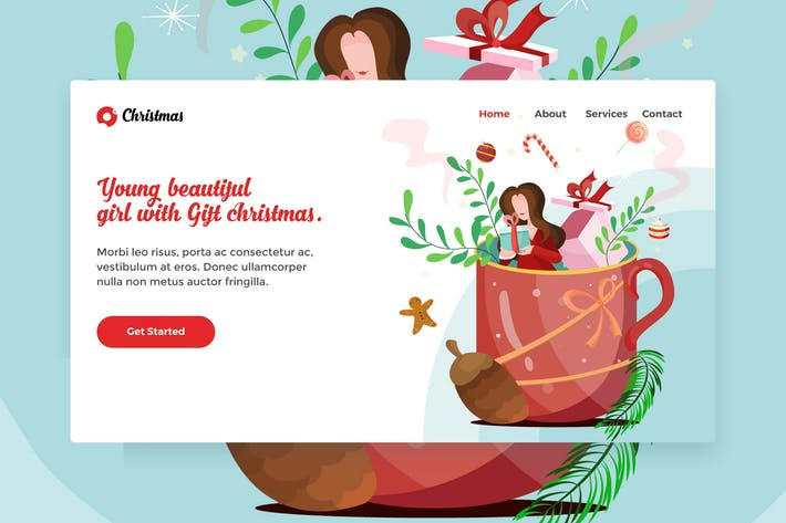 Thumbnail for Счастливого Рождества Красивая девушка веб посадочная страница