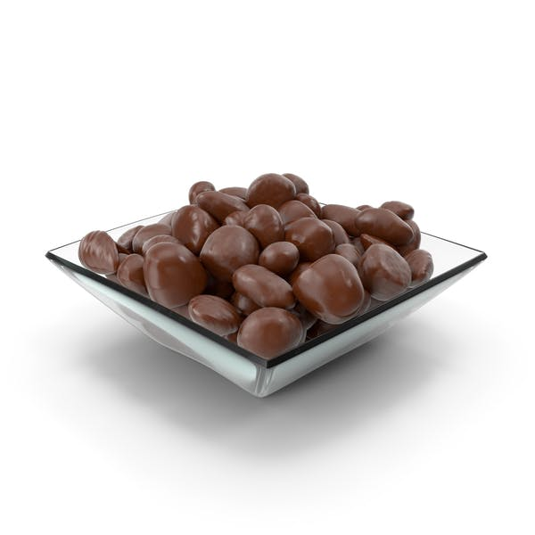 Square Bowl with Almond Chocolate Candy