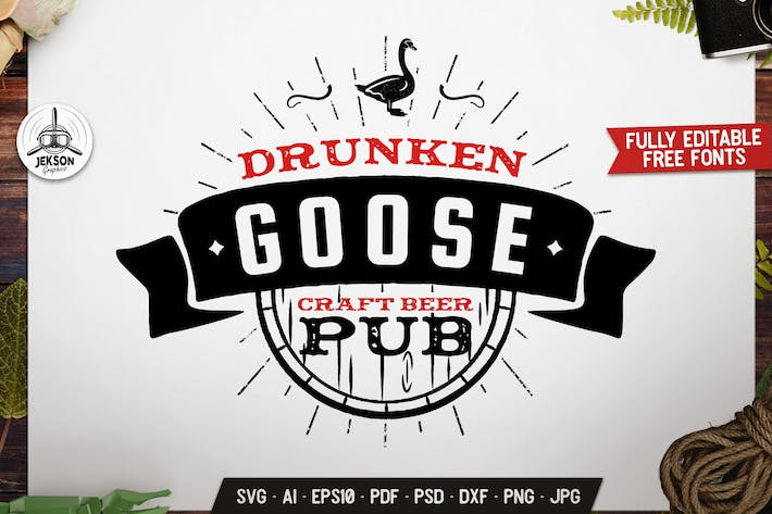 Thumbnail for Wild Animal Badge Graphics. Goose Pub Retro Vector