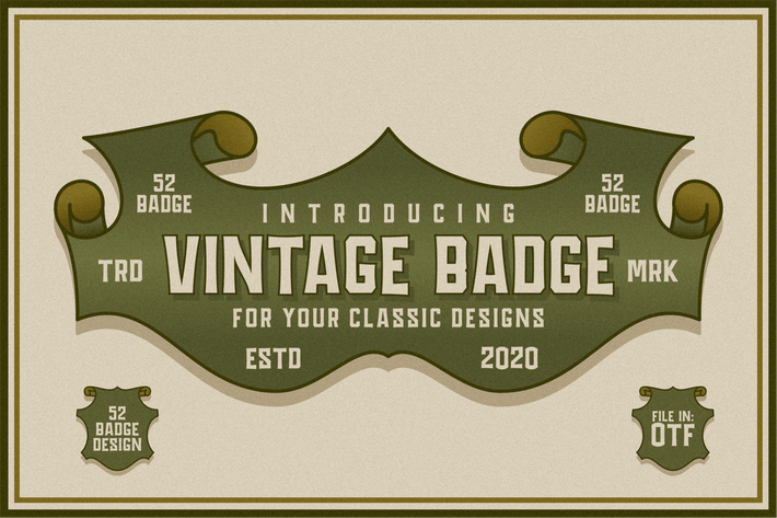 Thumbnail for Vintage Badge Design Font