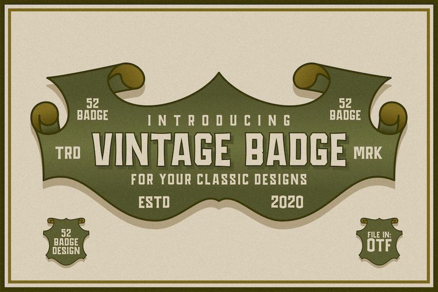 Fuente de diseño vintage de insignia.