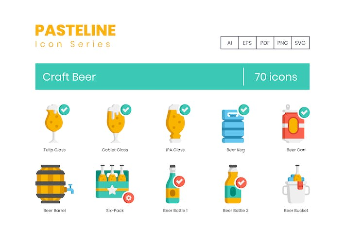 70 Craft Beer Icons - Pasteline Serie