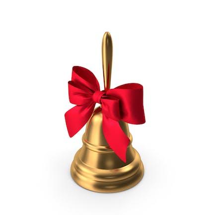 Рождественский колокольчик с красным бантом и ручкой
