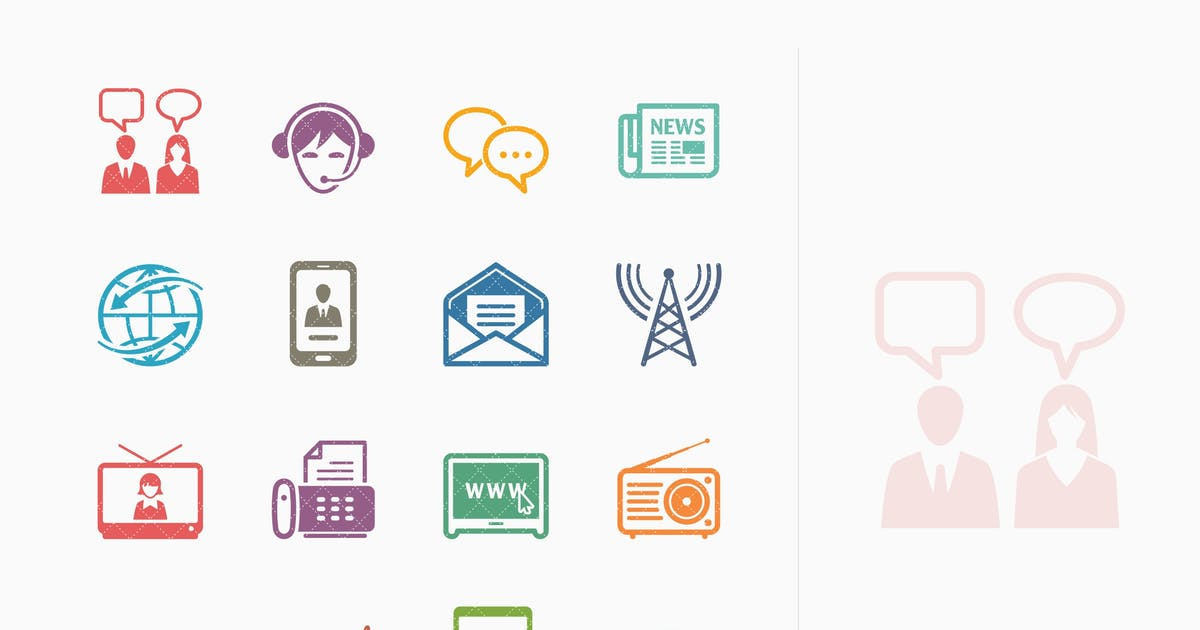 Download Communication Icons Set 2 - Colored Series by introwiz1