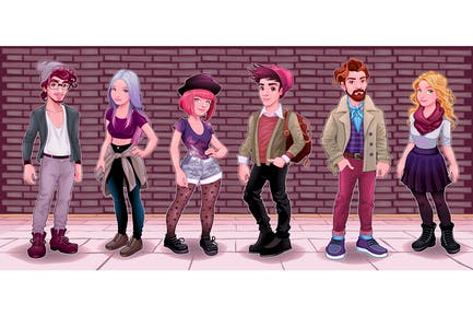 Jugendgruppe mit unterirdischem Hintergrund