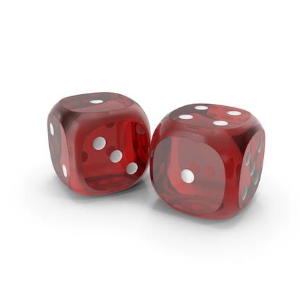 Dices Duo Transparent Red White