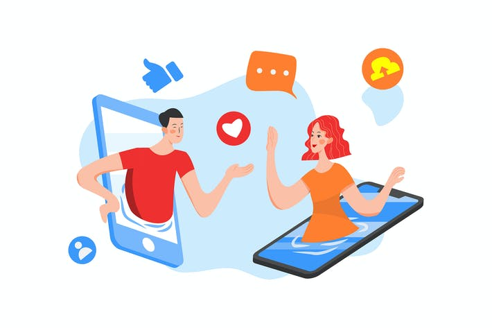 Thumbnail for Dating social illustration concept