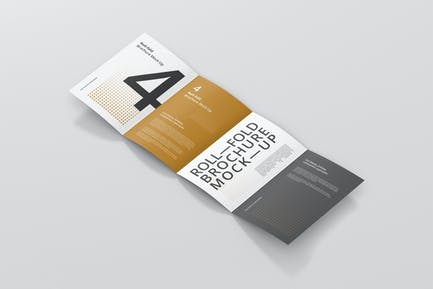 Roll Fold Brochure Mockup Din A4 A5 A6