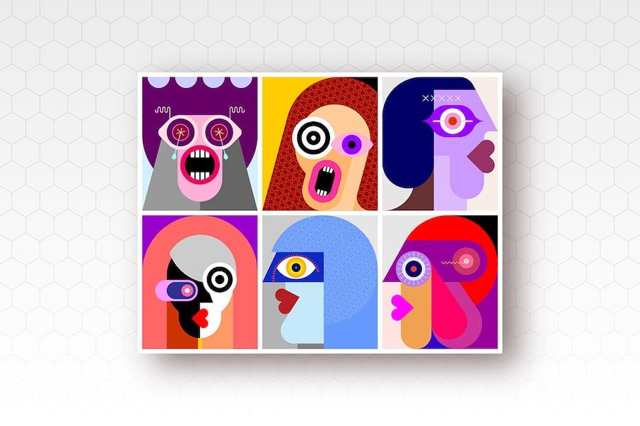 Шесть портретов/Шесть граней вектор иллюстрация