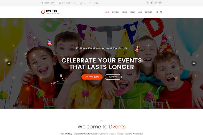 Thumbnail for DVENTS - Events HTML Template