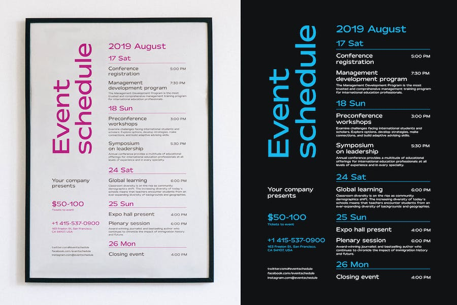 Schedule Event Poster Template, Vol4