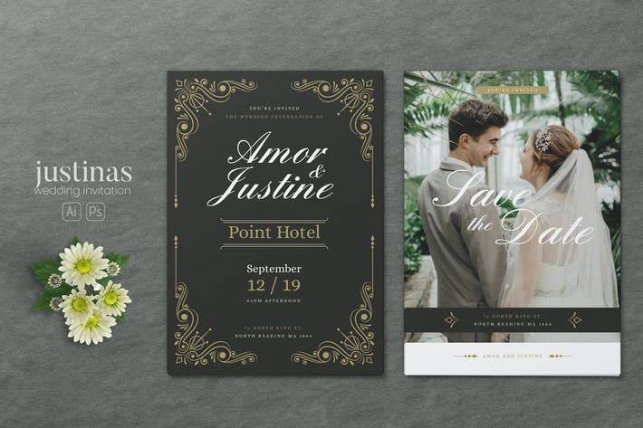 Thumbnail for Minimalist Wedding AI and PSD Invitation Vol.11