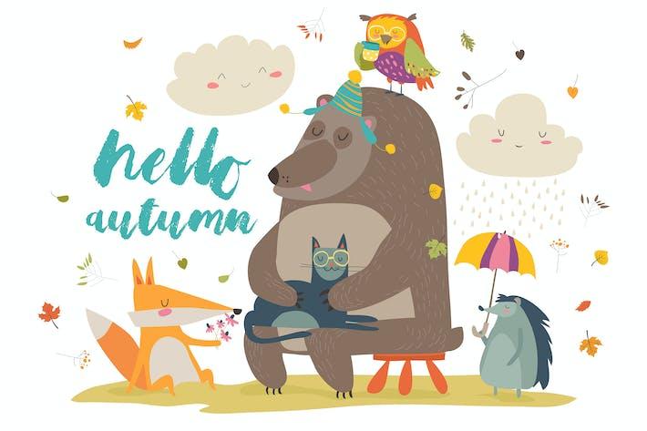 Thumbnail for Hallo Herbst Hintergrund mit niedlichen Tieren. Vektor