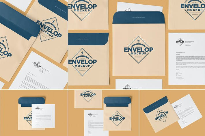 Thumbnail for Unique Square Shaped Envelope Mockups