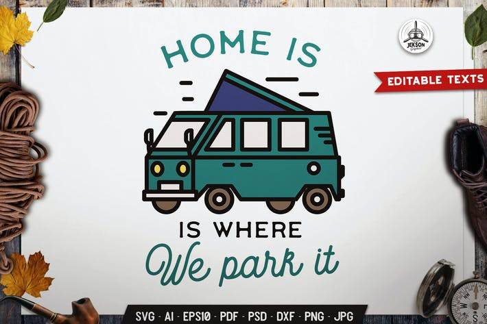Thumbnail for Camping RV Logo Badge Vector Travel Graphic SVG
