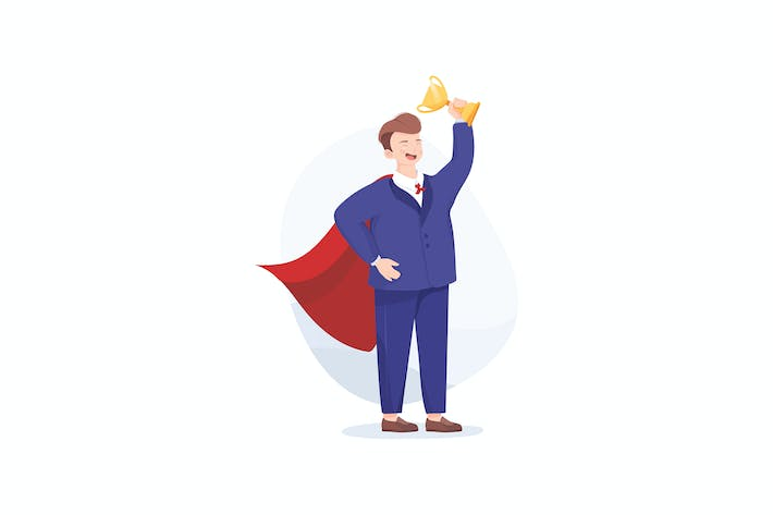 Thumbnail for Businessman in a red cloak holding winner cup.