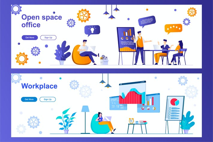 Open Space Office and Workplace Web Banners