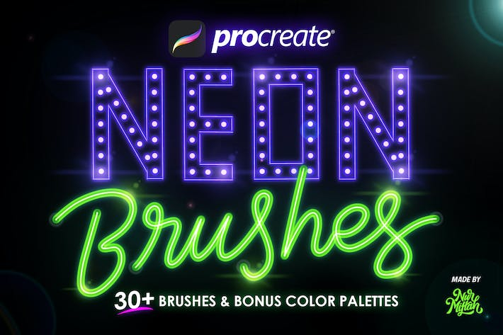 Thumbnail for Procreate Neon Brushes
