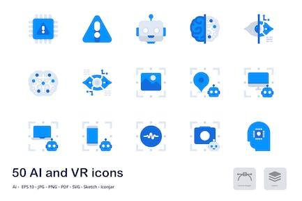 AI und VR Akzent Duo Tone Flache Icons