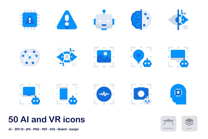 Thumbnail for AI and VR Accent Duo Tone Flat Icons