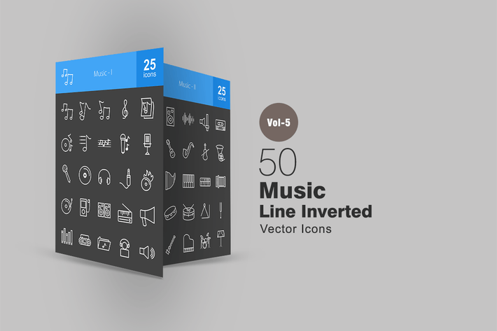Thumbnail for 50 Music Line Inverted Icons