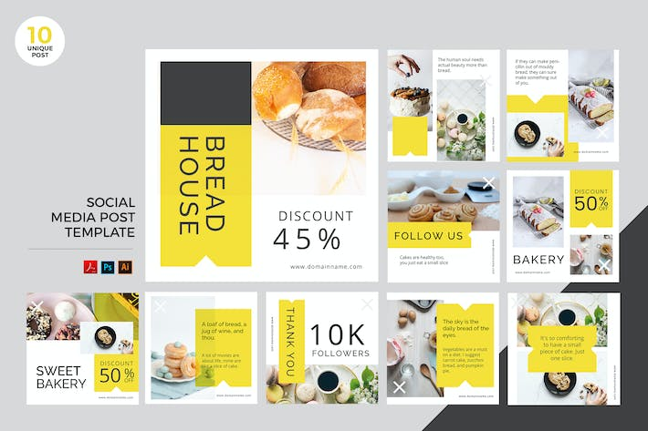 Thumbnail for Bakery Social Media Kit PSD & AI Vorlage