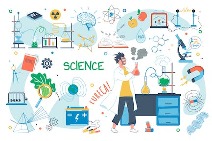 Science Concept Isolated Elements Set