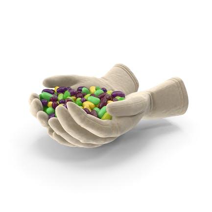 Handvoll Handschuhe mit tropischen Jelly Beans
