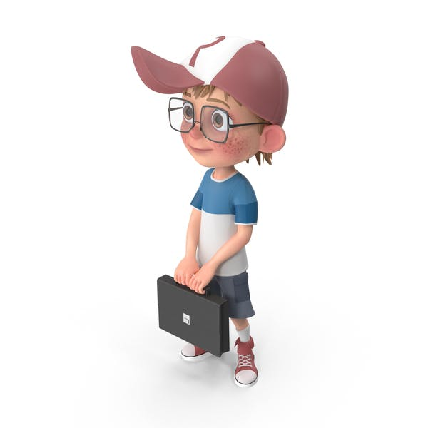 Cartoon Boy Holding A Briefcase
