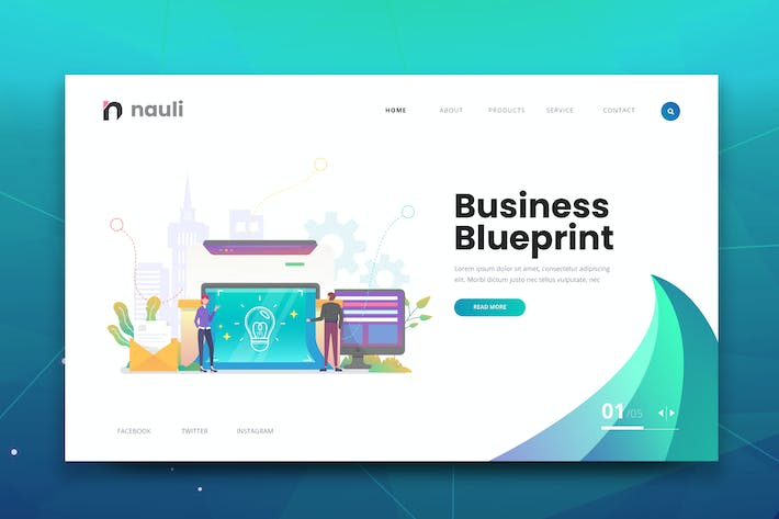 Thumbnail for Business Blueprint Web PSD and AI Vector Template