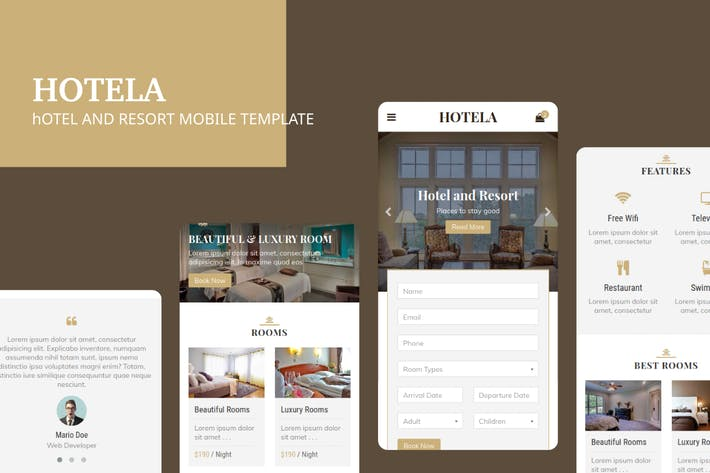 Thumbnail for Hotela - Hotel and Resort Mobile Template