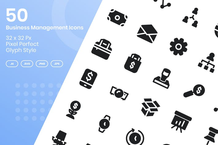 Thumbnail for 50 Business Management Icons Set - Glyph