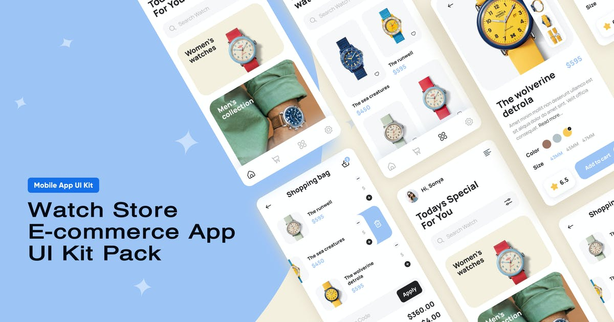 Download Watch Store E-commerce App UI Kit Pack by volusthemes