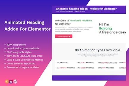 Addon de encabezado animado — widget para Elementor