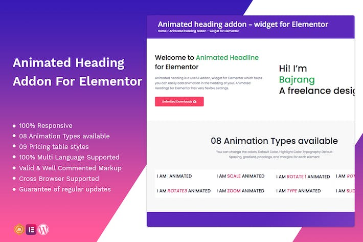Thumbnail for Animated heading addon – widget for Elementor