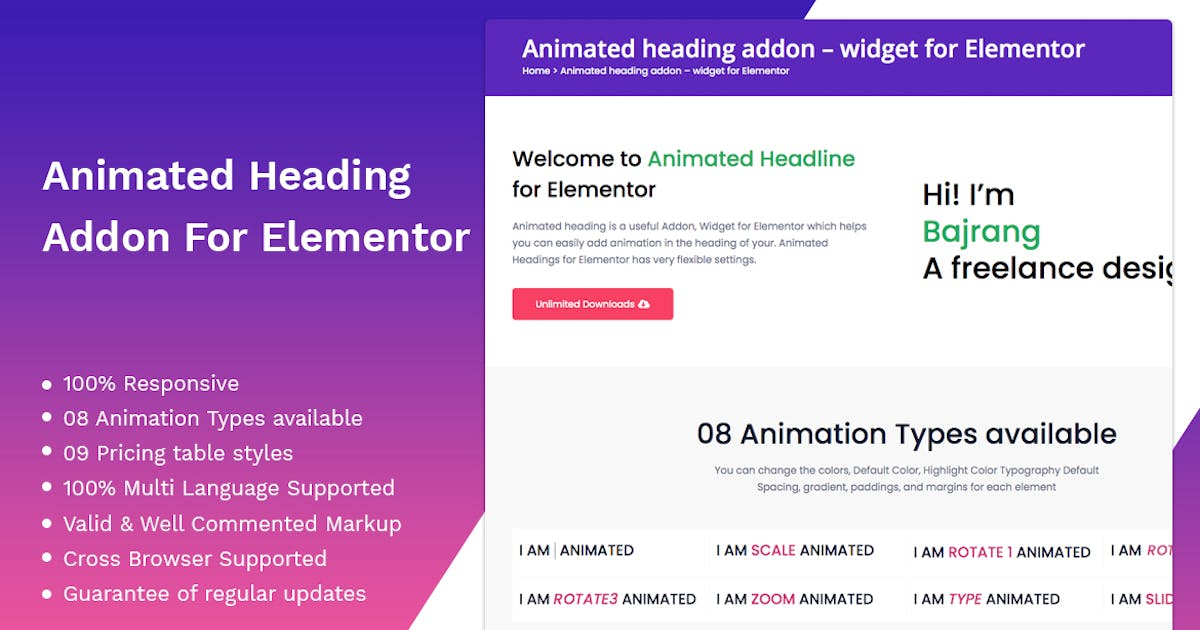 Download Animated heading addon – widget for Elementor by themesflat