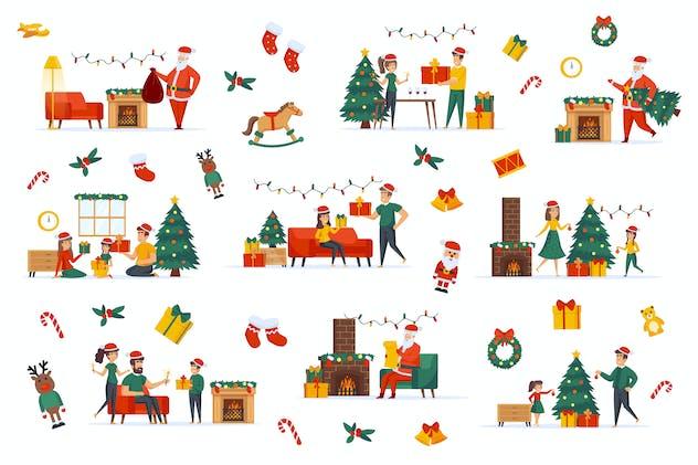 Merry Christmas Flat Scene Creator Kit