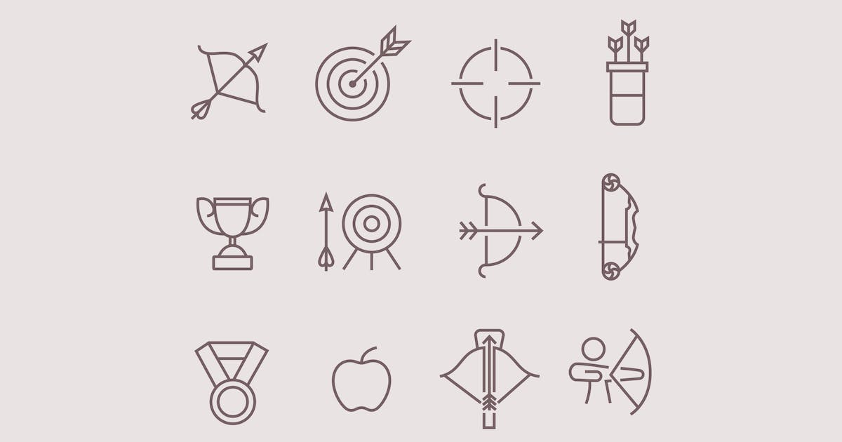 Download 12 Archery Icons by creativevip