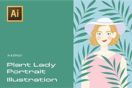 Plant Lady Portrait Illustration 5